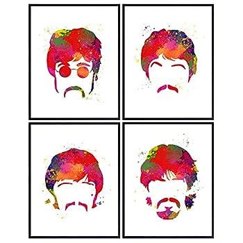 Beatles Poster Set - The Beatles - Cool Unique Gift for Paul McCartney John Lennon Ringo Starr George Harrison 60s Music Fans - 8x10 Wall Art Room Decor Home Decoration