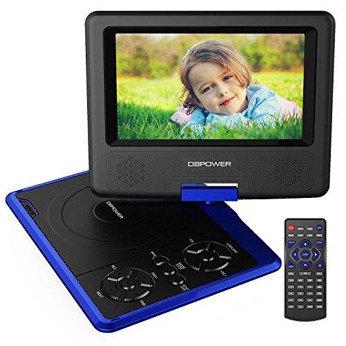 DBPOWER® Reproductor de DVD portátil, 3 Horas batería Recargable, Pantalla inclinable, máximo Support con Tarjetas SD, Memorias USB y reproducción Directa de MP4/AVI/RMVB/MP3/JPEG (Blue)