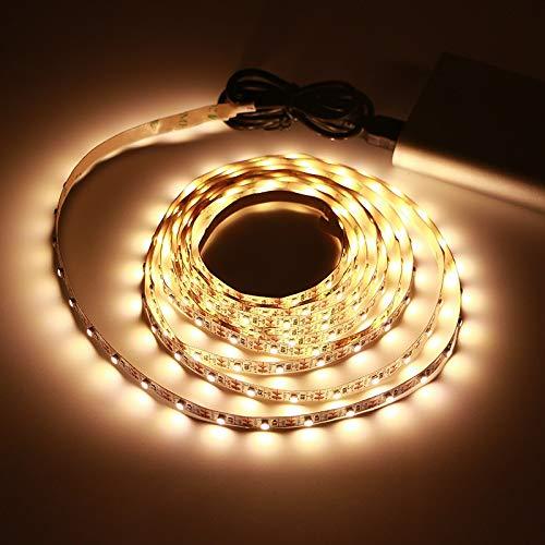 Lámpara de Tira LED USB SMD3528 DC5V 1M 2M 3M 4M 5M con Interruptor Cinta de luz LED Flexible Cinta TV Pantalla de Escritorio Iluminación de Fondo ACDES (Emitting Color : Warm White, Length : 1M)