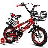 LJHSS Bicicletas para niños para hombres y mujeres, para bebés de 2 a 4 a 6 años Cochecito de 12 a 14 a 16 a 18 pulgadas con botella de agua (color rojo, tamaño: 12 pulgadas)