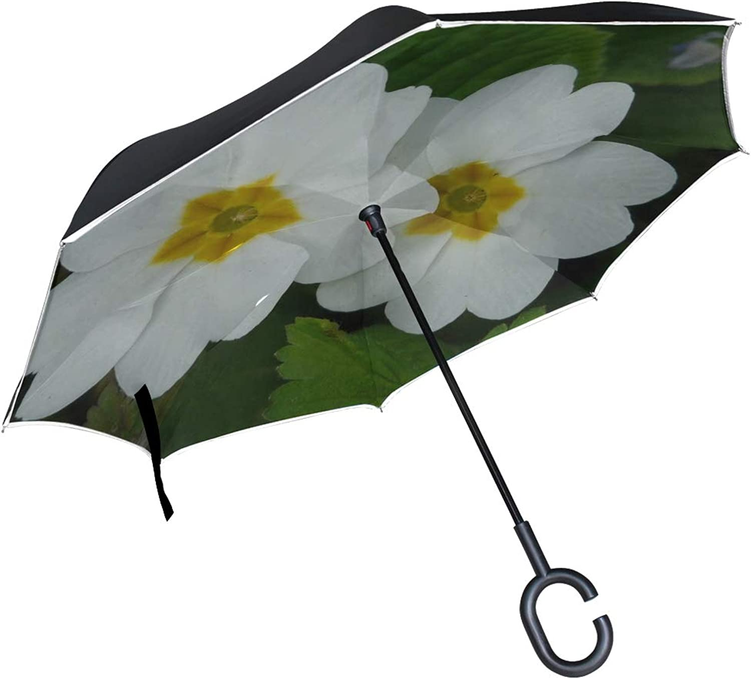 Double Layer Ingreened Primpink Cowslip Plant Garden White color Umbrellas Reverse Folding Umbrella Windproof Uv Predection Big Straight Umbrella for Car Rain Outdoor with CShaped Handle