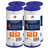 Aquaboon 5 Micron 10' Pleated Sediment Water Filter Replacement Cartridge | Whole House Sediment Filtration | Compatible with FXHSC, ECP5, FM-10-5, CP5S, 255490-43, HDC3001, 4-Pack