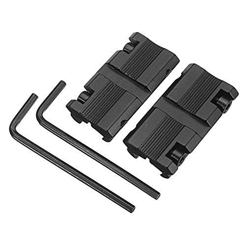 HITSAN 2 Stück 11 mm Schwalbenschwanz-Adapter auf 20 mm Picatinny Weaver Schiene Konverter Zielfernrohr-Halterung mit Schraubenschlüssel einteilig