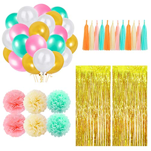 48Pcs Party Decorations Supplies Set Including 24 Balloons, 2 Foil Fringe Curtains, 6 Pom Poms Flowers, 16 Tissue Tassel Garland for Engagement, Wedding, Baby Shower, Backdrop Decoration