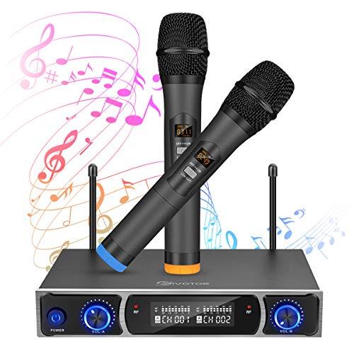 Equipo de karaoke, EIVOTOR UHF Sistema de Micrófono con 2 Micrófono Dinámico Conjunto...