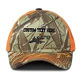 Custom Camo Mesh Trucker Hat E-3 Aircraft Name Embroidery Cotton Neon Hunting Baseball Cap Strap Closure Orange Camo Personalized Text Here