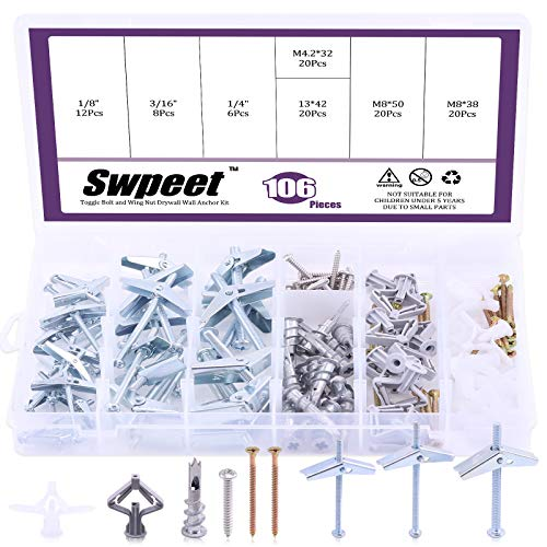 Swpeet 106Pcs Toggle Bolt and Wing Nut with Hollow-Door Drywall Toggle Anchors Assortment Kit, Zinc Hollow-Wall Anchor Self-Drilling Drywall Anchors with Phillips Screws - 1/8 Inch, 3/16Inch, 1/4Inch