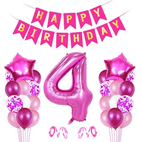 O-Kinee 4 Compleanno Decorazioni, Palloncino Numero 4, Festa Compleanno Decorazioni Ragazzo, Palloncino Festa Boy, Palloncini in Lattice, per Compleanno Battesimo Festa Comunione Baby Shower