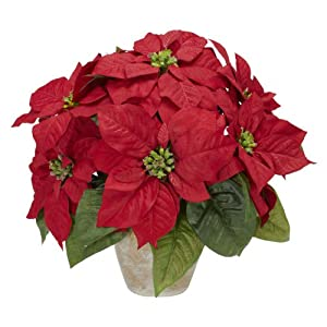 Nearly Natural 1268 Poinsettia with Ceramic Vase Silk Flower Arrangement, Red,6.75″ x 6.75″ x 22.5″