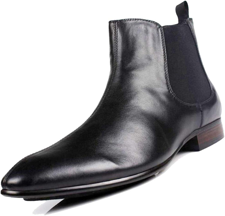Herren-Lederstiefel British Elastic Stiefelies Spitzhülse Atmungsaktiv Martin Stiefel Chelsea Schwarz