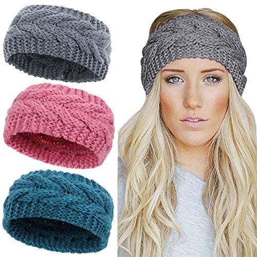 Winter Knitted Headband Women Chunky Knit Headbands Crochet Braided Hair Band Ear Warmer Crochet Head Wraps Cable Knitted Turban Hairband