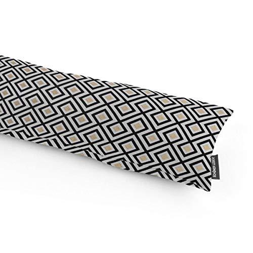 SCHÖNER LEBEN. Zugluftstopper Jacquard Art Deco Rauten Retro weiß schwarz goldfarbig Verschiedene Größen, Auswahl:100cm Länge