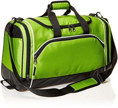 AmazonBasics Small Lightweight Durable Sports Duffel Gym and Overnight Travel Bag - Hyper Green