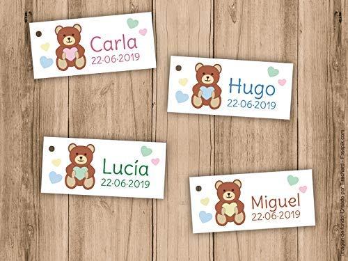 Etiqueta para detalle de Bautizo o Baby Shower osito con corazón. Pack 25 udes. Detalles de Bautizo. Tarjetas personalizadas.