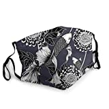 Koi Fish Chrysanthemum by Hand Japanese Vintage Face Mask,Adult Face Covering with Adjustable Earflap for Outdoor Sport - Nose and Mouth Covers Reusable Washable