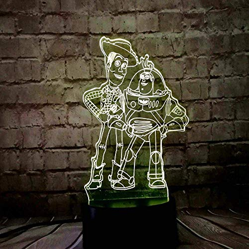 Festival Lámpara de Ilusión 3D Luz de Noche Led Toy Story Buzz Año Nuevo Woody Mickey Minnie Mouse Daisy Tinker Bell 7 Colores Cambio Decoración del Hogar Dormitorio Regalo