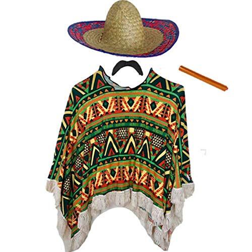 Mexikanisches Kostüm für Erwachsene (Poncho, Schnurrbart, Zigarre und Sombrero) (Einheitsgröße Erwachsene)
