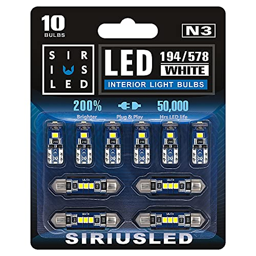 SIRIUSLED N3 578 211-2 212-2 41MM 194 168 2825 Combo LED bulbs white Super Bright 300 Lumens 3030 Chipset for The U.S.A Car Truck Interiors Dome Map Door Courtesy License Plate Lights pack of 10