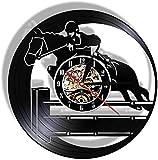 Vinile Vinile Orologio Da Parete Equestre Impermeabile Sport Cavallo Decorazione Domestica Creativo Orologio Da Parete 12 pollici