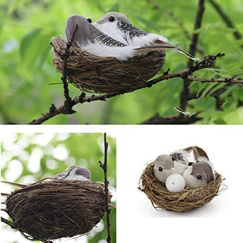 Zonfer 2 Sätze (2 Vogelnester + 2 Vogelei + 4 Vögel) Ostern Dekorationen Für Home Decor Künstliche Vögel Dekorationen Vogel-Nest-verzierung Vogel Modell Nest Vogelei Set Ostereier