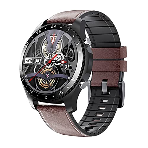 FOTGL 2021 Bluetooth Voz Call Smart Watch Men Fitness Watch Deportes Pulsera Impermeable IP67 Full Touch Smart Band Dial Personalizado para Android/iOS (Color : MV60 Black Leather)