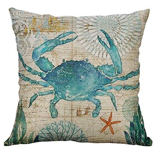 Shan-S Marine Life Coral Sea Turtle Seahorse Whale Octopus Cushion Cover Pillow Cover Cushion Case Cotton Linen Square Outdoor Cushion Cover Pillow Case Pillowcase for Couch Sofa Bed Car 40x40cm