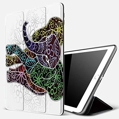 Funda iPad 10.2 Inch 2018/2019,Batik, Figura Digital Grande con líneas Florales y Formas Tribales Imagen de la Vida Salvaje, Rojo y Verde,Cubierta Trasera Delgada Smart Auto Wake/Sleep