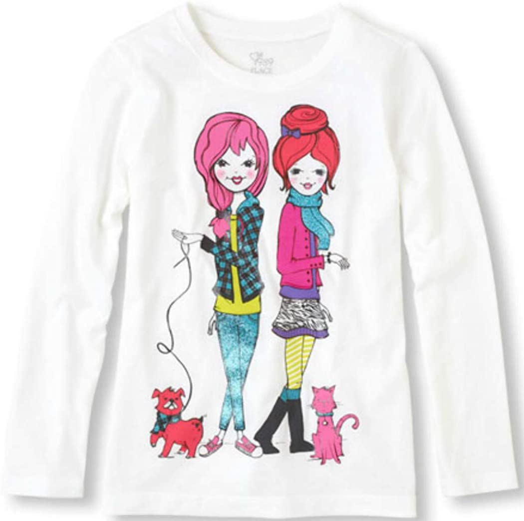 The Children's Place Girls Pets Long Sleeves Graphic Tee Sz S(5/6) White