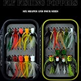 Fly Fishing Flies Kit Fly Assortment Trout Bass Fishing with Fly Box, with Dry\/Wet Flies, Nymphs, Streamers,Fly Poppers (pop21)