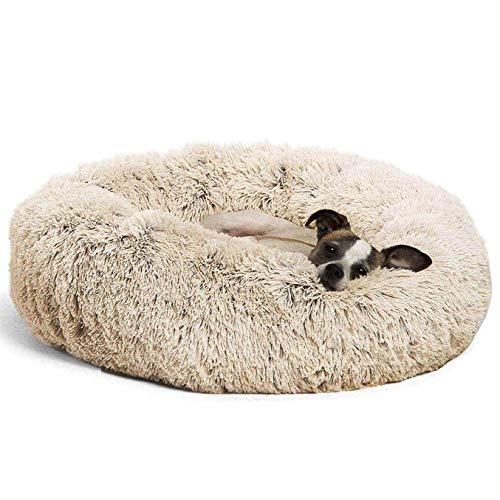 Deluxe Round Pet Bett/Fangqiyi Hunde und Katzen Bett, mit Reißverschluss, leicht zu entfernen und zu waschen, Kissen für Katzen/Hunde, 60 cm-120 cm / 5 Größen,Beige,80cm