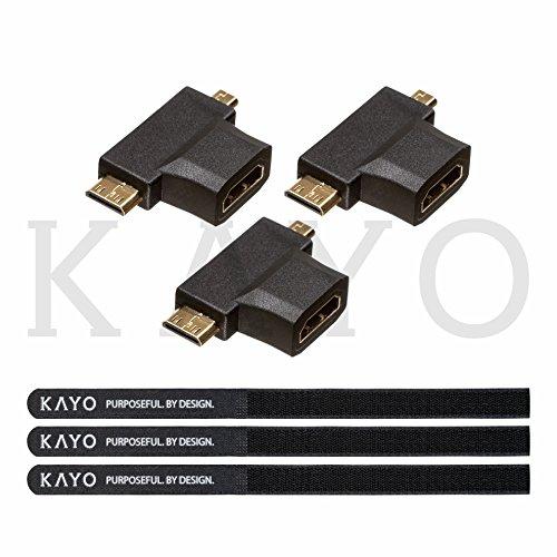 Kayo Adaptador HDMI T 2 en 1 convierte HDMI hembra a Mini HDMI macho y Micro HDMI macho adaptador color negro – 3 unidades