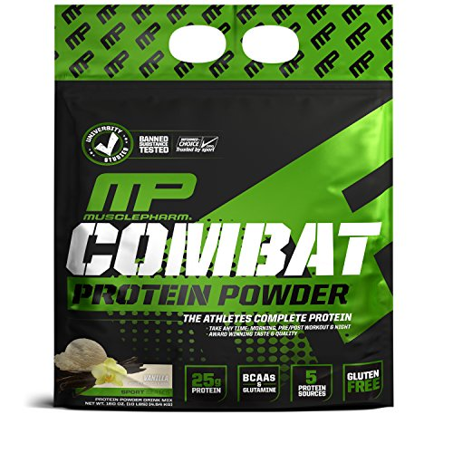 Muscle Pharm Combat Protein Powder, 5 Protein Blend, Vanilla, 10 Pounds, 135 Servings