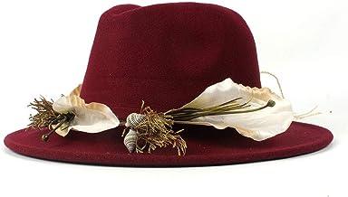 2019 Women Fedora Hat,Women Men Elegant Lady Girl Wide Brim Jazz Caps with Simple Leopard Ribbon Winter Autumn (Color : Wine red, Size : 56-58cm)
