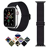 Goton Adjustable Stretchy Nylon Bands Compatible with Apple Watch Bands 38mm 40mm, Sport Elastics Solo Loop Replacement Strap for iWatch SE & Series 6 5 4 3 2 1 Women Men,Black
