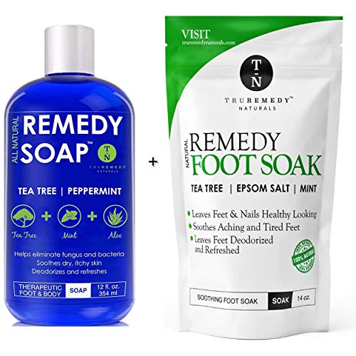 Remedy Soap Tea Tree Oil Body Wash + Tea Tree Oil Foot Soak with Epsom Salt Mint, Helps Body Odor, Athlete's Foot, Jock Itch, Ringworm, Yeast Infections, Skin Irritations, Soothes Sore Tired Feet