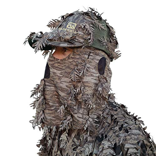 QuikCamo Mossy Oak New Bottomland Camo Hat with Built-in 3D Leafy Face Mask, Turkey Hunting Gear for Ghillie Suits and Bowhunting (Adjustable, One Size Fits Most)