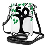 Jiger Women Small Cell Phone Purse Crossbody,Stylized Tree Icon With Number Fifty Growth Aging Nature Theme