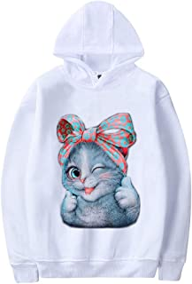 FEDULK Womens Cat Print Hooded Pullover Long Sleeve Sweatshirt Sweater Hoodie Blouse Tops Plus Size S-4XL