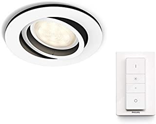 Philips Hue White Ambience Milliskin Recessed LED Smart Spotlight, Ceiling Light [GU10] with Dimmer Switch, White, Works w...