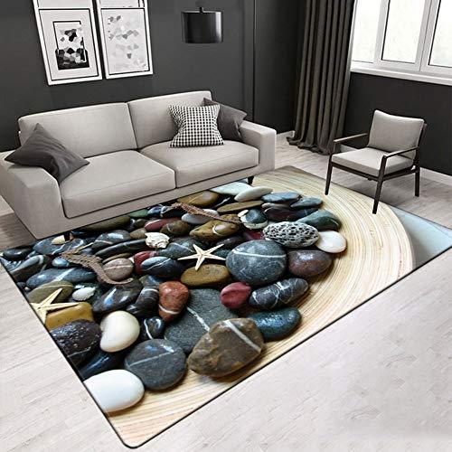 FLOORMATJING Teppich mit modernem Design Wohnzimmer Bild Teppich mit Steintisch mit Buntem Muster Mix aus mehrfarbigen Farben,01,120 * 180cm