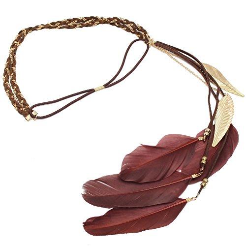 JUSTFOX - Geflochtenes Haarband Haarkette mit Feder in der Farbe Braun