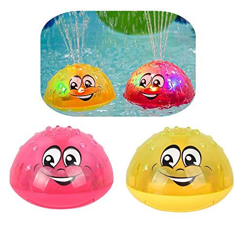 Finebuying Badespielzeug für Badewanne Beach Pool Badespray Spielzeug mit Lampe Automatische Induktionsspray Wasserbad Spielzeug Elektrisches Spray Wasserstrahlball Kindergeschenke (1 Gelb & 1 Rot)