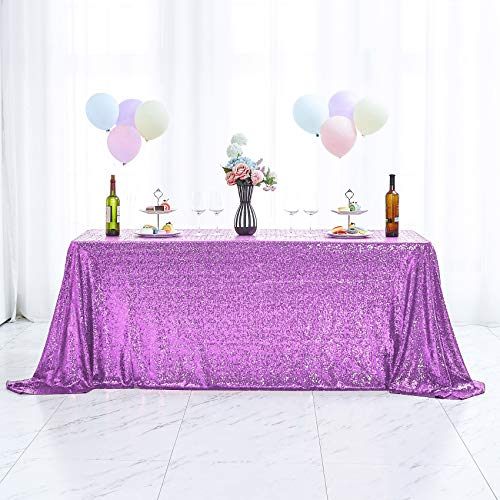 Hahuho 60x102 inch Rectangular Sequin Tablecloth Lavender, Glitter Tablecloth for Bridal Shower Decorations, Birthday, Wedding, Dessert, Banquet(60x102 Inch, Lavender)