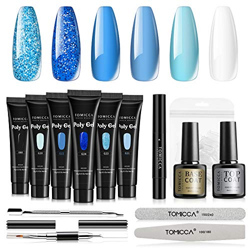 TOMICCA Poly Extension Gel Nail Kit, Blue Colors Nail Builder Gel Kit French Professional Technician Enhancement Manicure Kit Salon DIY For Beginner at Home All-in-One Kit