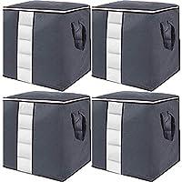gomaihe 4 pcs scatole per armadio salvaspazio, scatole per vestiti porta abiti grande capacità contenitori con manico, pieghevole borsa organizzatore per trapunte coperte biancheria da letto, grigio