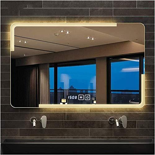 Cuarto de baño Vanity Mirror Iluminado LED Montado en la Pared Espejo de baño/Touch Sensor Interruptor/Tiempo Temperatura/Demister, Anti Niebla Montado en la Pared Horizontal o Vanidad Vertical