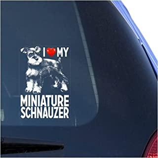 I Love My Miniature Schnauzer Clear Vinyl Decal Sticker for Window Zwergschnauzer Dwarf Dog Sign Art Print