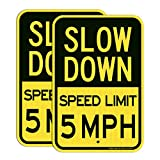 (2 pack) Slow Down Speed Limit 5 MPH Sign, Slow Down Sign, Traffic Sign,18 x 12 Inches Engineer Grade Reflective Sheeting, Rust Free Aluminum, Weather Resistant, Waterproof, Durable Ink, Easy to Mount