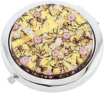 GlassOfVenice Millefiori Espejo compacto plegable de cristal de Murano, color morado y dorado