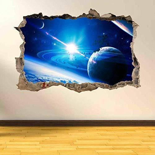 Pegatinas de pared Planetas, lluvia, espacio, estrellas, sistema solar, 3D, destrozado, arte de pared, pegatinas, póster, papel tapiz- 80×120cm